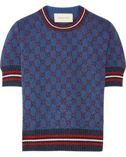 Metallic Jacquard-knit Sweater