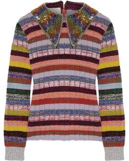Embellished Striped Wool-blend Sweater
