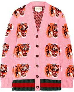 Intarsia Wool Cardigan