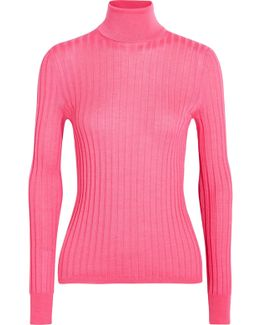 Ribbed Wool, Silk And Cashmere-blend Sweater