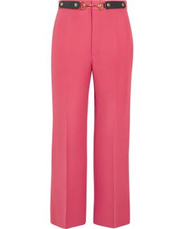 Horsebit-detailed Wool And Silk-blend Wide-leg Pants