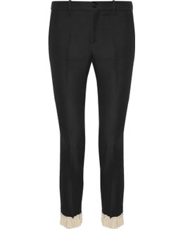 Ruffle-trimmed Silk And Wool-blend Skinny Pants