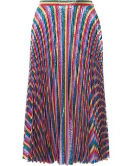Plissé-lurex Midi Skirt