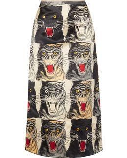 Printed Silk-charmeuse Midi Skirt