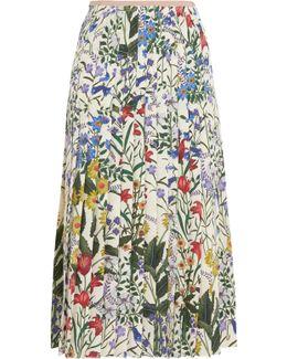Pleated Floral-print Silk-crepe Midi Skirt
