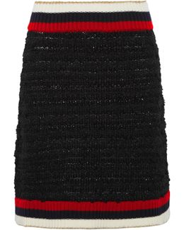 Ribbed Knit-trimmed Bouclé-tweed Mini Skirt