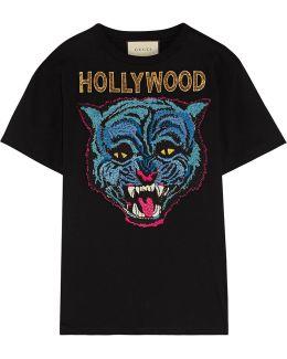 Appliquéd Cotton-jersey T-shirt