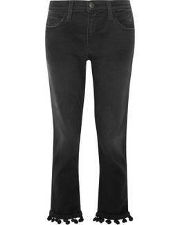 The Cropped Pompom-trimmed High-rise Straight-leg Jeans