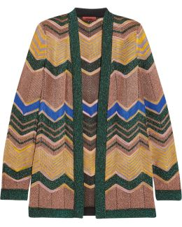 Metallic Crochet-knit Cardigan