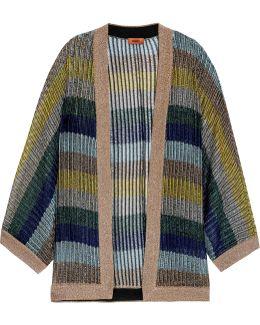 Striped Metallic Crochet-knit Cardigan