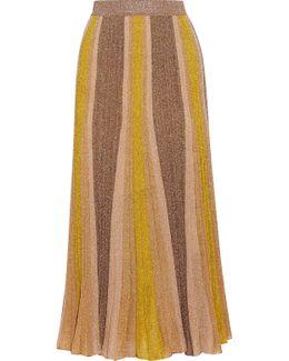 Metallic Stretch-knit Midi Skirt