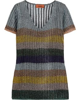 Striped Metallic Knitted Top