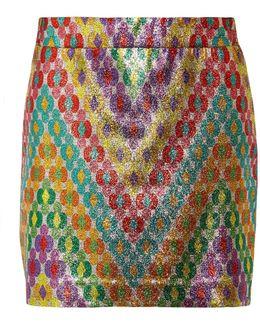 Printed Silk-blend Lamé Mini Skirt
