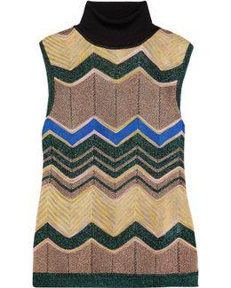 Metallic Crochet-knit Turtleneck Top