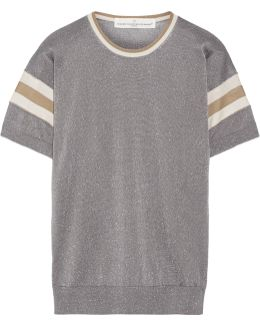 Claudine Striped Metallic Knitted Top
