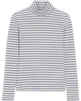 Iman Striped Stretch Cotton-blend Turtleneck Top