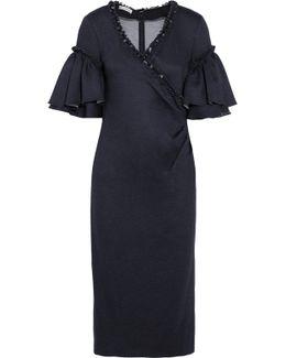 Ruffled Stretch-jersey Wrap-effect Midi Dress
