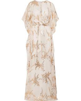 Fil Coupé Silk Crepe De Chine Gown