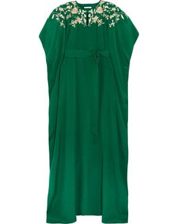Embroidered Embellished Silk Crepe De Chine Gown