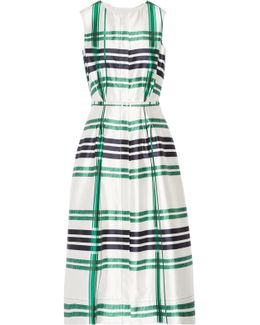 Plaid Silk And Cotton-blend Midi Dress