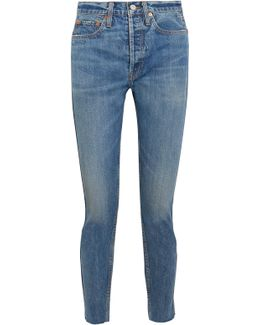 Originals Cropped Frayed High-rise Straight-leg Jeans