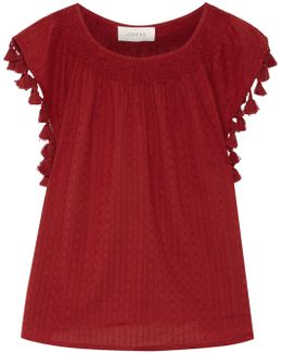 The Tassel Embellished Broderie Anglaise Cotton Top