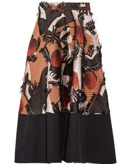 Fringed Appliquéd Silk-blend Midi Skirt