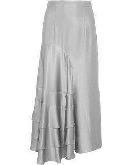 Ruffled Hammered Silk-satin Midi Skirt