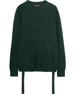 Split-front Wool, Silk And Cashmere-blend Sweater