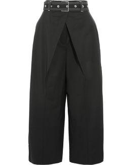 Cropped Wool-blend Twill Wide-leg Pants