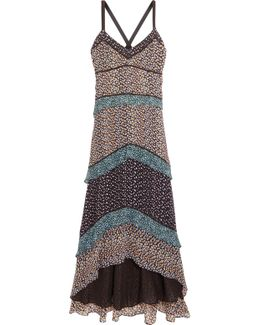 Tiered Printed Silk-georgette Maxi Dress
