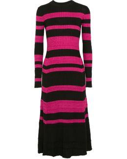 Striped Ribbed Wool-blend Midi Dress