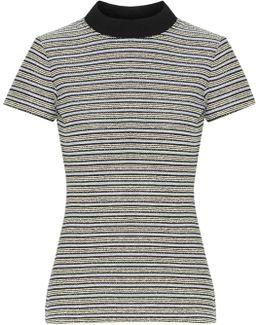 Ribbed Jersey-trimmed Striped Cotton-blend Bouclé Top