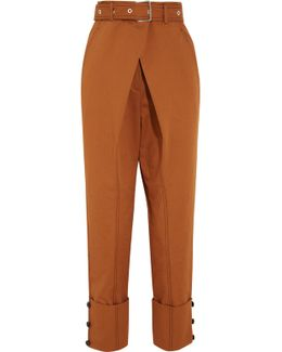 Belted Cotton-twill Pants