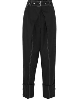Belted Wool-blend Twill Straight-leg Pants
