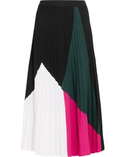 Color-block Pleated Knitted Midi Skirt