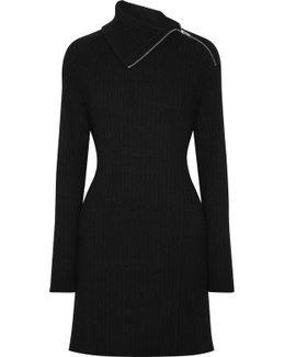 Cutout Ribbed Wool-blend Dress