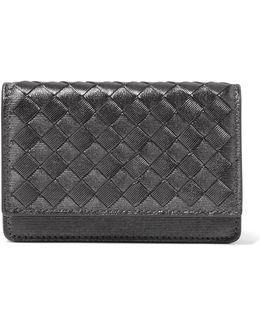 Metallic Intrecciato Leather Cardholder