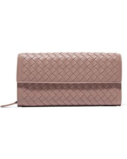Intrecciato Leather Continental Wallet