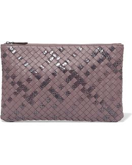 Intrecciato Leather And Snake Clutch