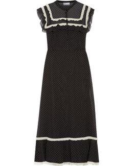 Ruffled Polka-dot Chiffon Midi Dress