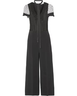 Ruffled Swiss-dot Tulle And Crepe Jumpsuit