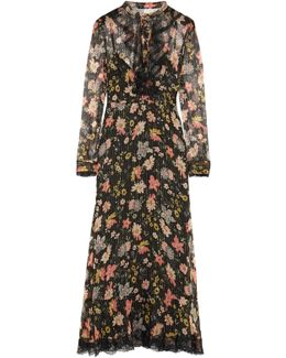 Ruffled Floral-print Silk-chiffon Midi Dress