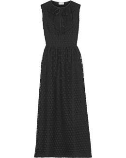 Point D'esprit-trimmed Lace Midi Dress