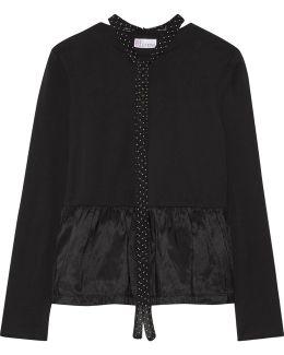 Pussy-bow Satin Jersey-paneled Cotton-jersey Peplum Top