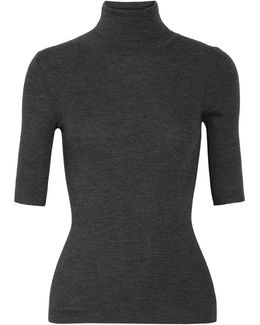 Leenda Ribbed Merino Wool Turtleneck Sweater
