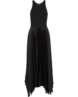 Vinessi Ribbed Stretch-knit And Pleated Satin Maxi Dress