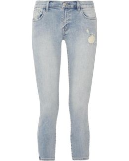 Cropped Distressed Low-rise Skinny Jeans