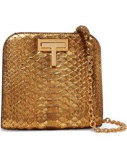 T Lock Small Metallic Python Shoulder Bag