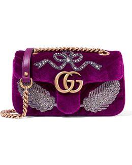 Gg Marmont Small Embellished Velvet Shoulder Bag